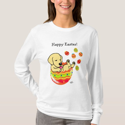 Easter Egg Yellow Labrador Puppy Cartoon T-Shirt