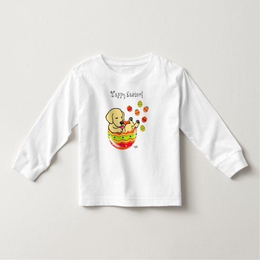 Easter Egg Yellow Labrador Puppy Cartoon Toddler T-shirt
