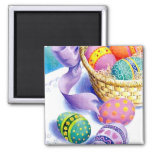 Easter eggs 2 inch square magnet