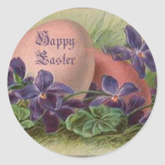 Easter Eggs Among the Violets Classic Round Sticker