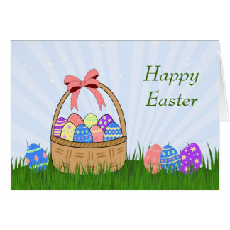 Easter eggs and basket card