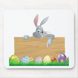 Easter eggs and bunny sign mousepad