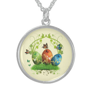 Easter Eggs and Butterflies Sterling Silver Necklace
