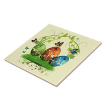 Easter Eggs and Butterflies Tile