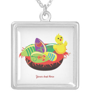 Easter eggs and chick custom silver pendant