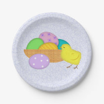 Easter Eggs And Chick Paper Plates
