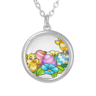Easter Eggs and Chicks Silver Plated Necklace