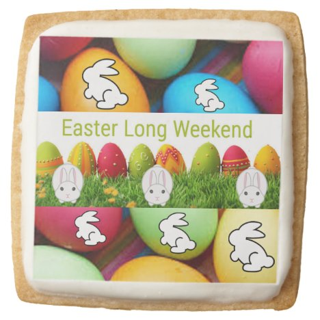 Easter Eggs and Easter bunny Square Shortbread Cookie