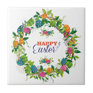 Easter Eggs And Flowers Wreath Tile
