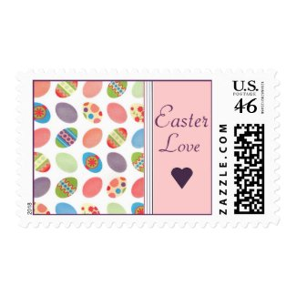 Easter Eggs and Love Postage Stamps