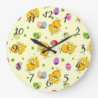 Easter Eggs & Baby Chicks Large Clock