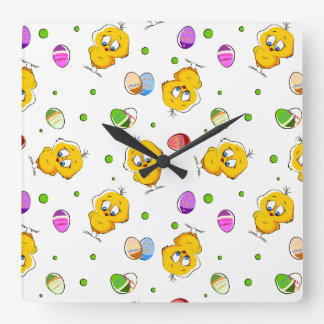 Easter Eggs & Baby Chicks Square Wall Clock