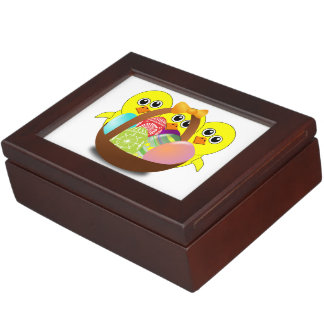 Easter eggs basket and chickens cartoon keepsake boxes