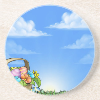 Easter Eggs Basket Background Sandstone Coaster