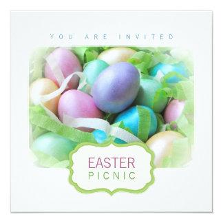"""Easter Eggs Basket Picnic invitation 5.25"""" Square Invitation Card"""
