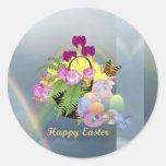 Easter Eggs Basket Round Sticker