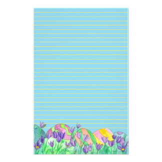 Easter Eggs Blue Lined Stationery