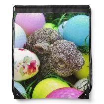 Easter Eggs, bunny and Golf Balls Drawstring Bag