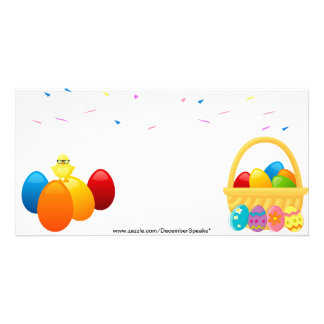 Easter eggs,chick & confetti card