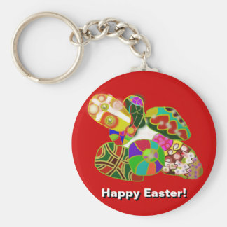 Easter Eggs Colorful Abstract Design Keychain