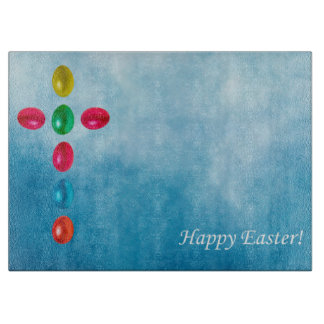 Easter eggs cross cutting board
