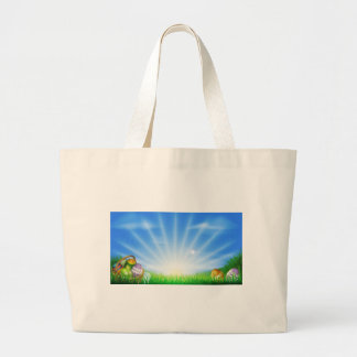 Easter eggs field background tote bag