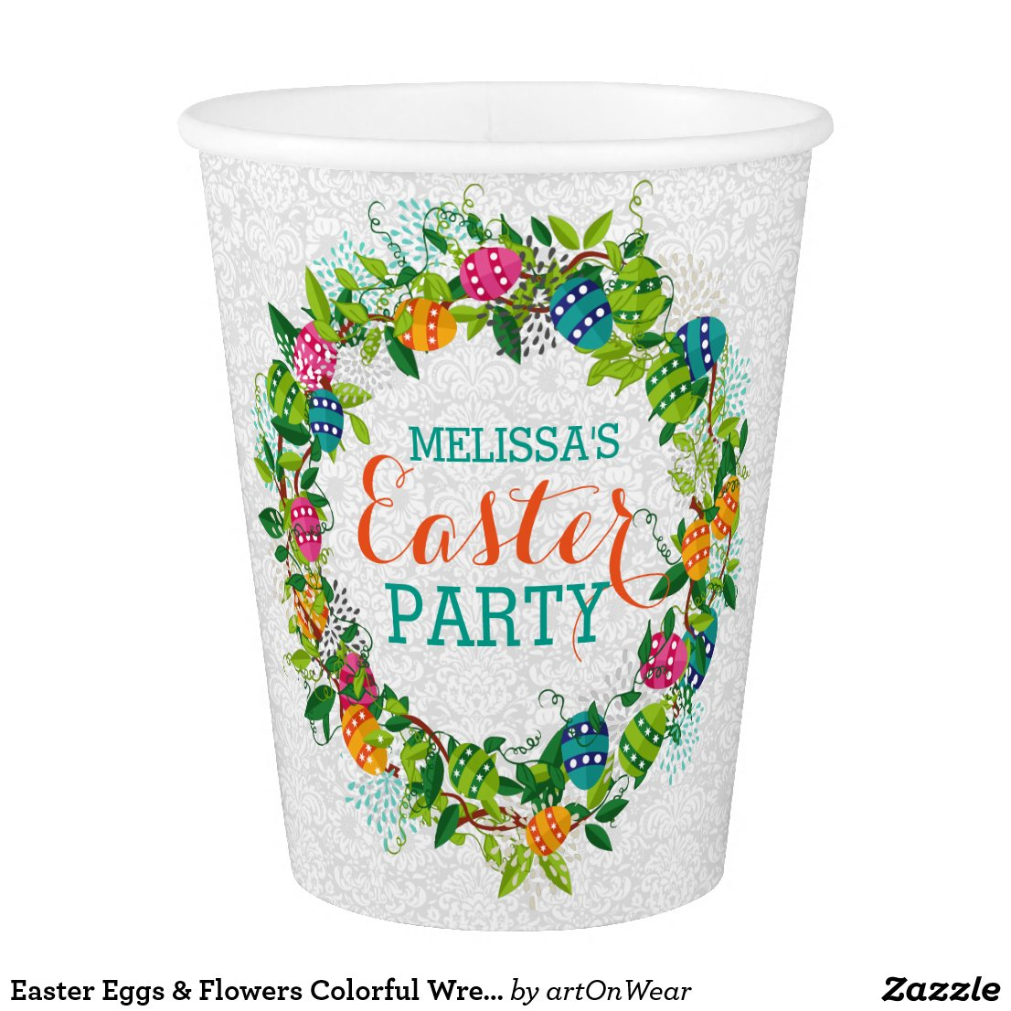 Easter Eggs & Flowers Colorful Wreath Paper Cup