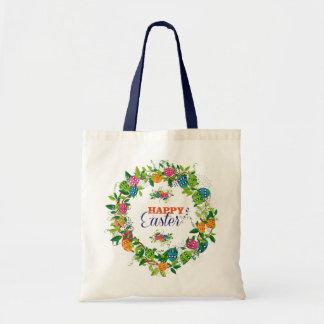 Easter Eggs & Flowers Wreath Design Tote Bag