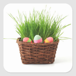 Easter Eggs greeting card Square Sticker