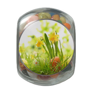 Easter Eggs Hiding in Grass with Daffodils Jelly Belly Candy Jar