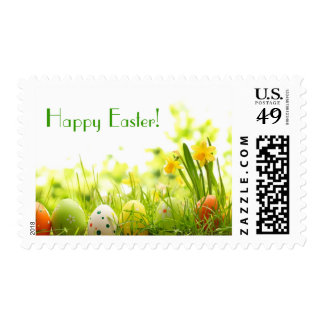 Easter Eggs Hiding in Grass with Daffodils Postage Stamp