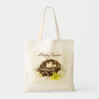 Easter eggs in a bird's nest tote bag