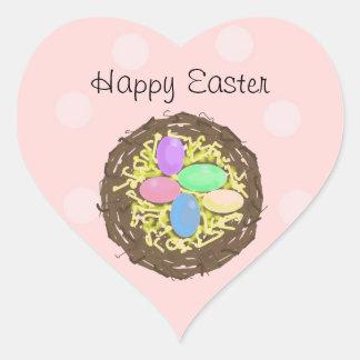 Easter Eggs in a Nest Heart Sticker
