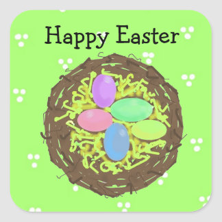 Easter Eggs in a Nest Square Sticker