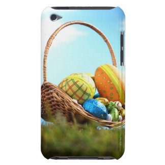 Easter eggs in basket on grass, ground view barely there iPod case