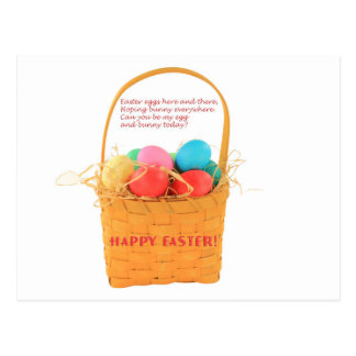 Easter eggs in basket Postcard
