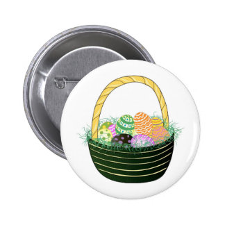 Easter Eggs in Decorative Basket Button
