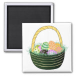 Easter Eggs in Decorative Basket 2 Inch Square Magnet