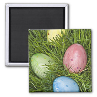 Easter Eggs in Grass 2 Inch Square Magnet