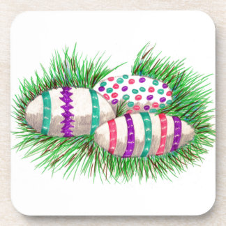Easter Eggs in Grass Beverage Coaster