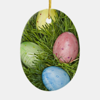 Easter Eggs in Grass Double-Sided Oval Ceramic Christmas Ornament