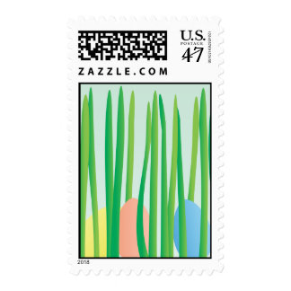 Easter Eggs in Grass Postage Stamp