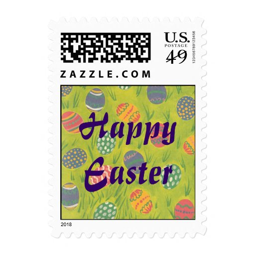 Easter Eggs in Grass Spring Postage Stamp