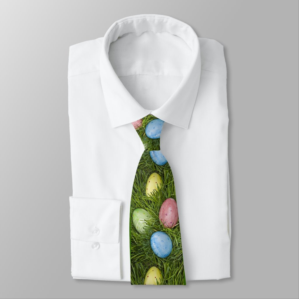 Easter Eggs in Grass Tie