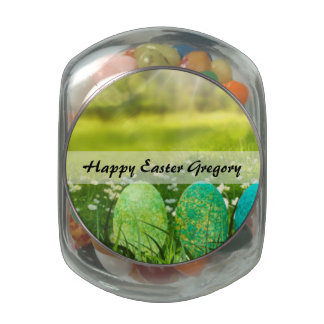 Easter Eggs in Spring Greens and Blues Jelly Belly Candy Jar