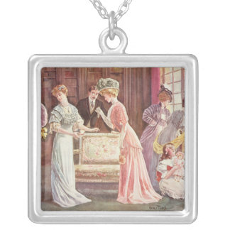 Easter Eggs in Town, 1908 Silver Plated Necklace