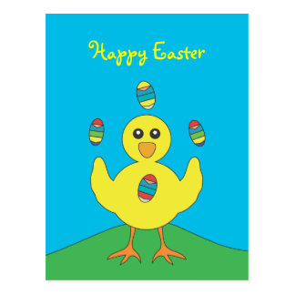 Easter Eggs Juggling Chick Postcard