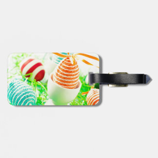 Easter eggs on grass luggage tag