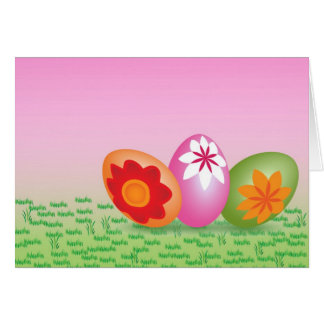 Easter Eggs On Pink Card