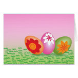 Easter Eggs On Pink Greeting Card